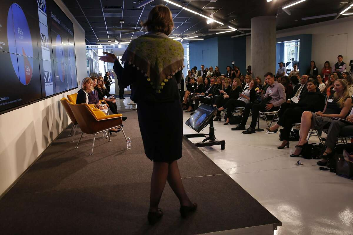 Gen� Teare, Head of Research, Crunchbase gives a presentation during a workshop called Bridging the Gender Gap: Entrepreneurship, Women and Investing at the Nasdaq Entrepreneurial Center April 19, 2016 in San Francisco, Calif.