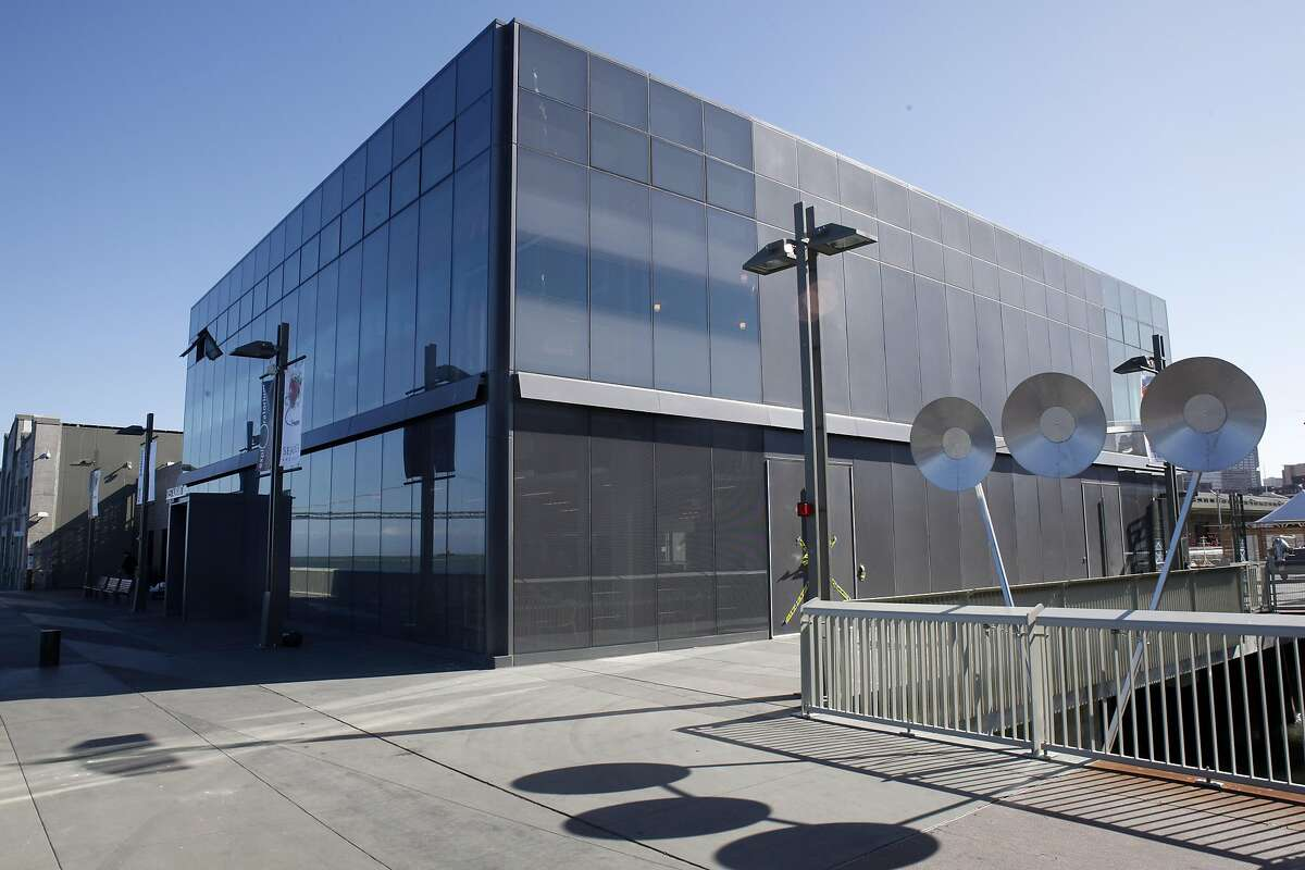 The exterior of the Fisher Bay Observatory Gallery. Overall views of how the renewed Piers 15 and 17 Exploratorium and how they fit into the overall existing Embarcadero scene, shown on Monday April 15, 2013, in San Francisco, Calif. The central water and plazas tie the pier and plaza and exhibits into an overall catalyst for connecting the Embarcadero and the bay in creative new ways.