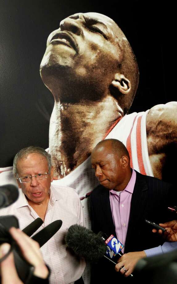 Mayor Sylvester Turner and Rockets owner Les Alexander speak to the media about Alexander's $500,000 donation to the city of Houston for victims of the recent floods, before the start of game three of a first-round NBA playoffs game at Toyota Center, Thursday, April 21, 2016, in Houston. Photo: Karen Warren, Houston Chronicle / © 2016 Houston Chronicle