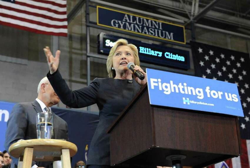 Presidential candidate Hillary Clinton holds a campaign rally at Cohoes High School on Monday, April 4, 2016 in Cohoes, N.Y. (Lori Van Buren / Times Union)