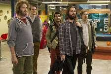"T.J. Miller, Zach Woods, Kumail Nanjiani, Martin Starr and Thomas Middleditch in ""Silicon Valley."" (John P. Fleenor/HBO/TNS)"