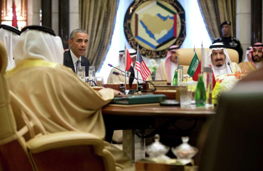 President Barack Obama, with Saudi Arabia's King Salman, right, speaks after a Gulf Cooperation Council session at the Diriyah Palace during the Gulf Cooperation Council Summit in Riyadh, Saudi Arabia, Thursday, April 21, 2016. The president is on a six day trip to strategize with his counterparts in Saudi Arabia, England and Germany on a broad range of issues with efforts to rein in the Islamic State group being the common denominator in all three stops. (AP Photo/Carolyn Kaster) ORG XMIT: SAUK121 Photo: Carolyn Kaster / Copyright 2016 The Associated Press. All rights reserved. This m