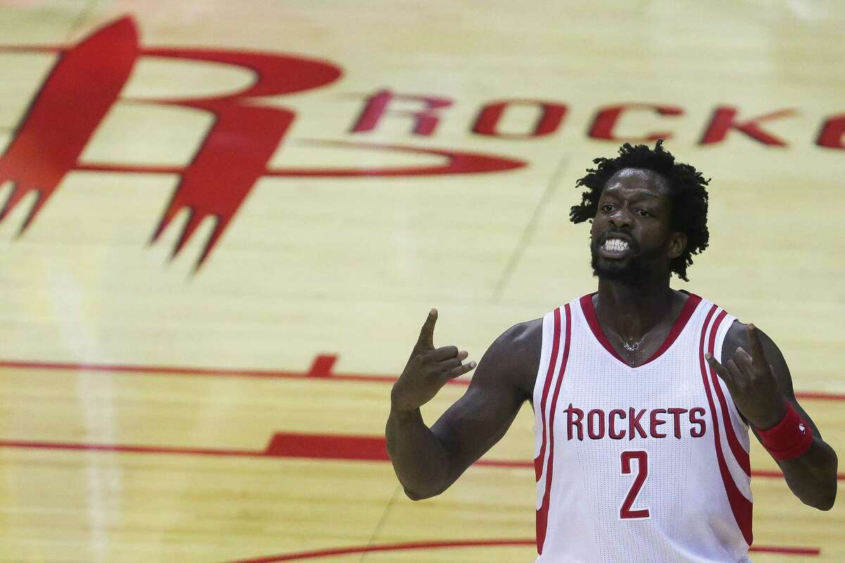 Houston Rockets guard Patrick Beverley (2) celebrates after hitting a three-pointer during the first half in game three of a first-round NBA Playoffs series at Toyota Center Thursday, April 21, 2016 in Houston.