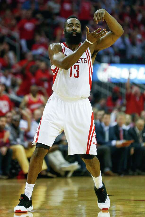 Houston Rockets guard James Harden (13) has elicited the ire of rapper Lil B after celebrating with the cook dance during Sunday's playoff victory over the Oklahoma City Thunder. Lil B put a curse on Harden because of it for the second time. Photo: Karen Warren, Houston Chronicle / © 2016 Houston Chronicle