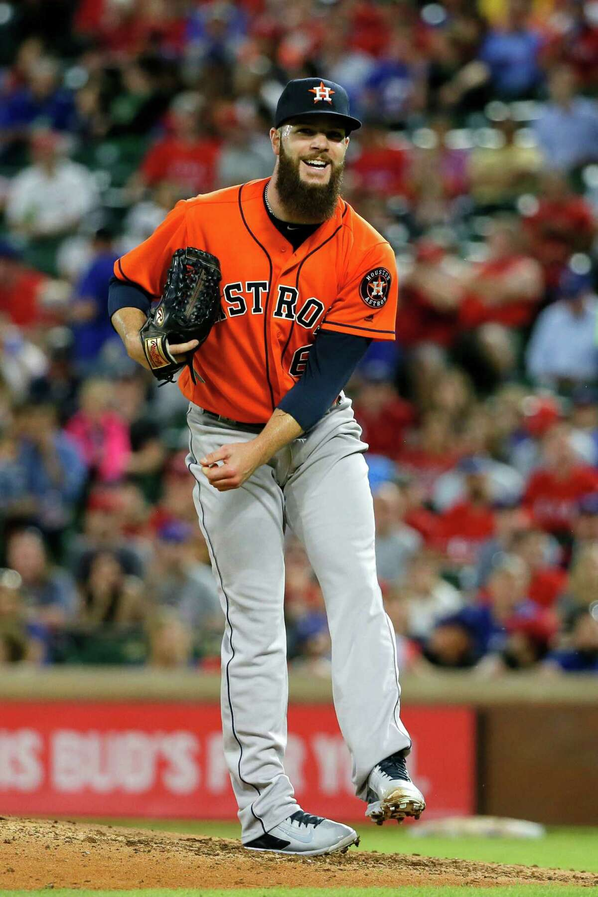 April 21: Rangers 7, Astros 4 Houston Astros' Dallas Keuchel follows through on his deliver to the Texas Rangers during a baseball game, Thursday, April 21, 2016, in Arlington, Texas. (AP Photo/Tony Gutierrez)