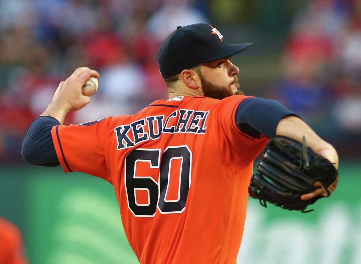 Houston Astros pitcher Dallas Keuchel works the first inning against the Texas Rangers at Globe Life Park in Arlington, Texas, on Thursday, April 21, 2016.