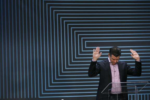 Uber CEO Travis Kalanick gives a speech at the company's five-year anniversary event, Wednesday, June 3, 2015, at the Uber headquarters in San Francisco, Calif.
