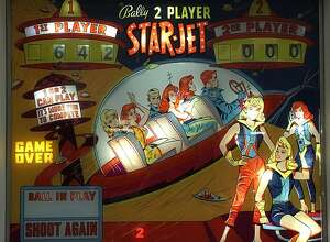 A backplate from a vintage table in the Pinball Hall of Fame.