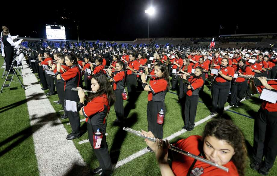 "Some of the 5,100 area high school band students from 35 bands, the largest number of participants in the festivalÕs history perform during the 78th Battle of Flowers Band Festival ""Texas Traditions...125 Years!"" held Thursday April 21, 2016 at Alamo Stadium. Photo: Edward A. Ornelas, San Antonio Express-News / © 2016 San Antonio Express-News"