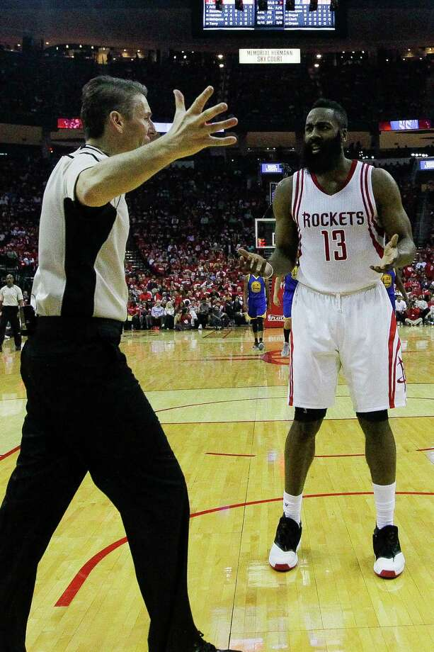 Houston Rockets guard James Harden (13) argues with a referee during the first half in game three of a first-round NBA Playoffs series at Toyota Center Thursday, April 21, 2016 in Houston. Photo: Michael Ciaglo, Houston Chronicle / © 2016  Houston Chronicle
