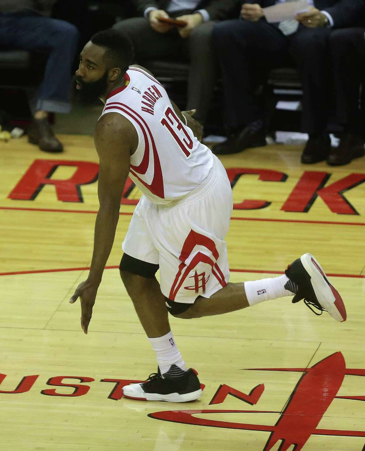 Houston Rockets guard James Harden (13) reacts after his basket during the second half in game three of a first-round NBA playoffs series at Toyota Center, Thursday, April 21, 2016, in Houston.