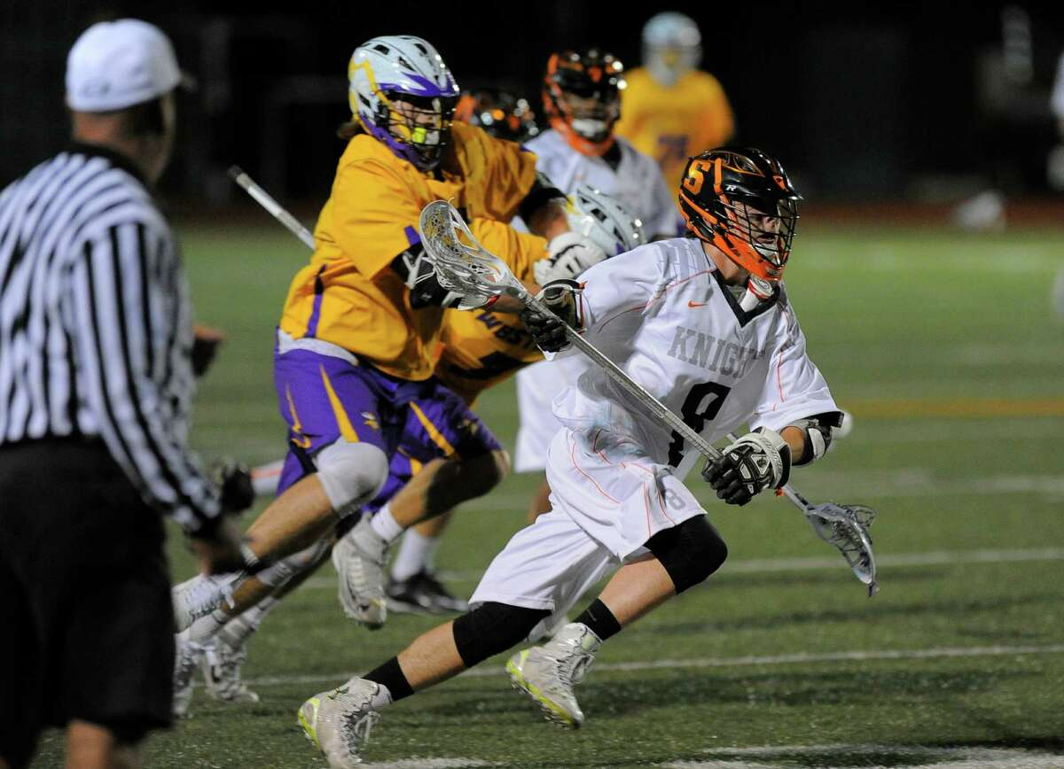 Stamford's Jack O'Brien drives upfield in Thursday night's win over Westhill at Boyle Stadium.