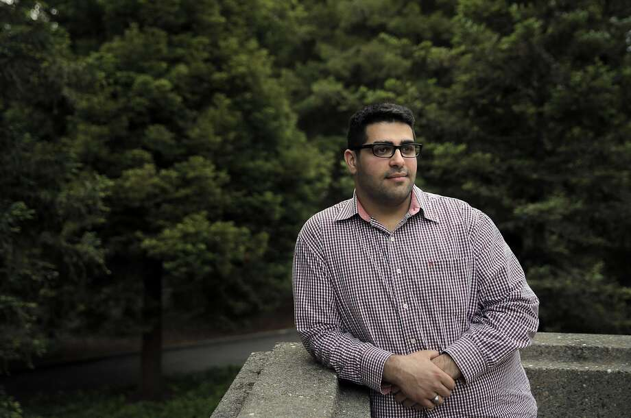 "Khairuldeen Makhzoomi, a UC Berkeley student, at the university in Berkeley, Calif., on Thursday, April 21, 2016. Makhzoomi was pulled off a plane after a fellow passenger claimed she heard him say words in Iraqi Arabic connected to martyrdom, while he counters that he said ""inshallah,"" an Arabic expression meaning ""god willing,"" or ""hopefully."" Photo: Carlos Avila Gonzalez, The Chronicle"