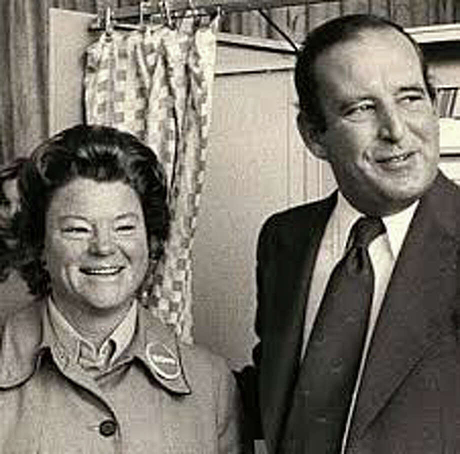 U.S. Rep. Stewart B. McKinney and his wife, Lucie Cunningham McKinney, leave the voting booth. Photo: File Photo /Hearst Connecticut Media / Fairfield Citizen