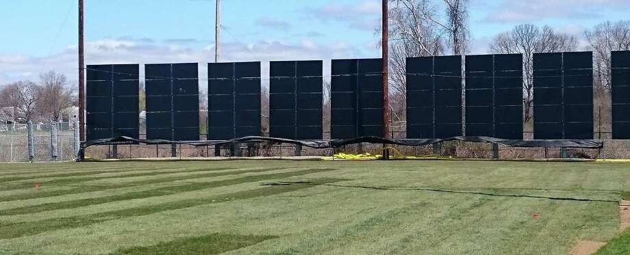 Solar panels have gone up in the outfield at the Tom Haydon softball field on Old Dam Road. Photo: Genevieve Reilly / Hearst Connecticut Media / Fairfield Citizen