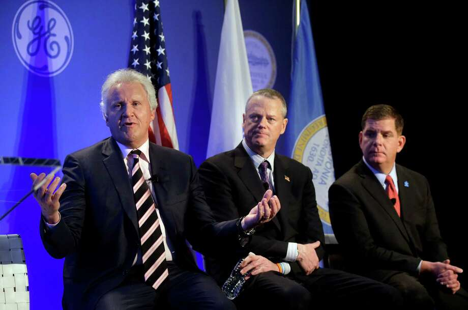 General Electric CEO Jeff Immelt speaks in Boston on April 4, 2016 alongside Massachusetts Gov. Charlie Baker (center) and Boston Mayor Marty Walsh. (AP Photo/Steven Senne) Photo: (AP Photo /Steven Senne) / Copyright 2016 The Associated Press. All rights reserved. This material may not be published, broadcast, rewritten or redistribu