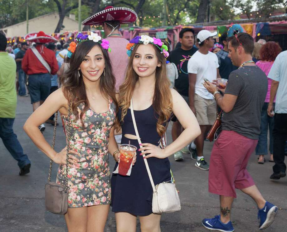 A college twist to Fiesta shenanigans filled La Villita for Night in Old San Antonio on April 21, 2016. Photo: By Fabian Villa / For MySA.com