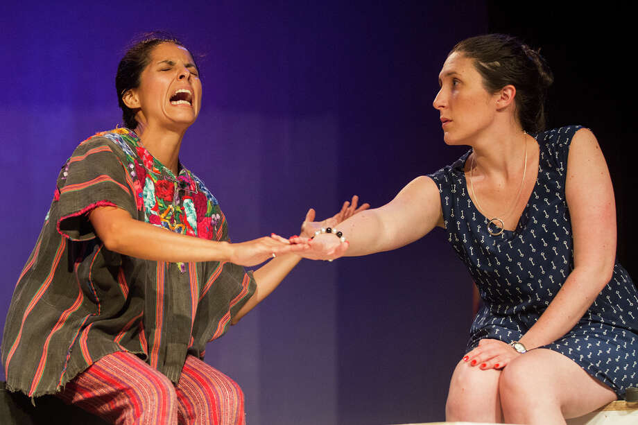 "(Left to right) Eleonor Maciel and Abigail Vega rehearse a scene in ""Enfrascada"" at the Guadalupe Theater.  Photo: Alma E. Hernandez, Alma E. Hernandez / For The San Antonio Express News"