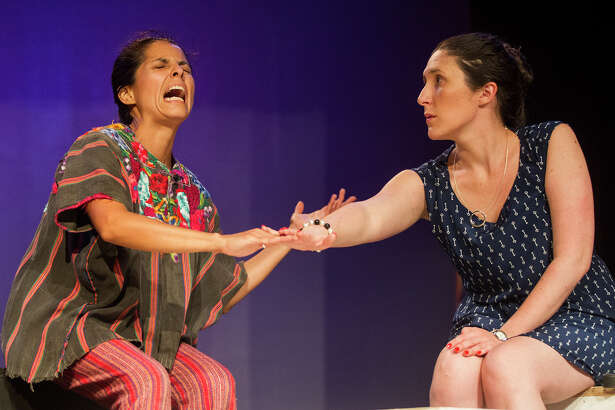 """(Left to right) Eleonor Maciel and Abigail Vega rehearsing """"Enfrascada,"""" at the Guadalupe Theater, Wednesday, April 20, 2016. The play was written by Tanya Saracho, who has written for such television shows as """"How to Get Away with Murder,"""" """"Devious Maids"""" and """"Girls."""""""