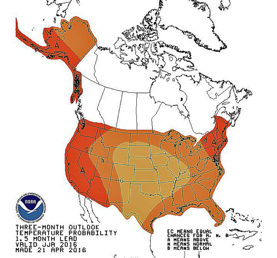 This map forecasts above average temperatures this summer for Connecticut and thr rest of New England. Photo: NOAA