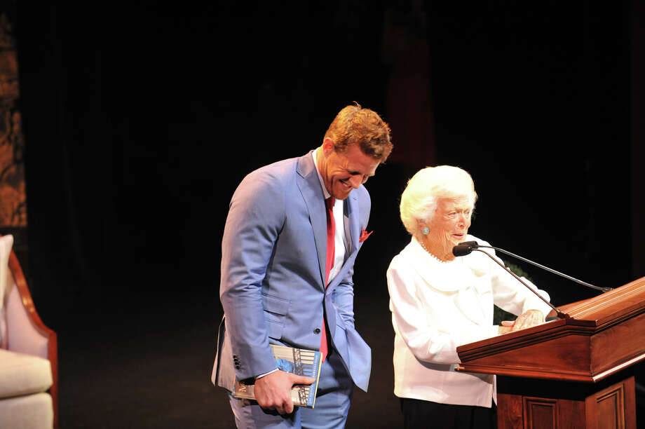 J.J. Watt and former first lady, Barbara Bush, onstage.