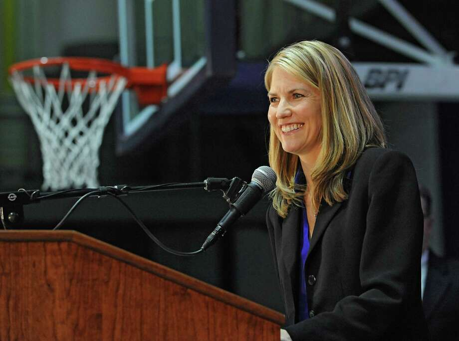 Joanna Bernabei-McNamee speaks as she is introduced as the new women's basketball coach for University at Albany on Friday, April 22, 2016 in Albany, N.Y.  (Lori Van Buren / Times Union) Photo: Lori Van Buren / 10036280A