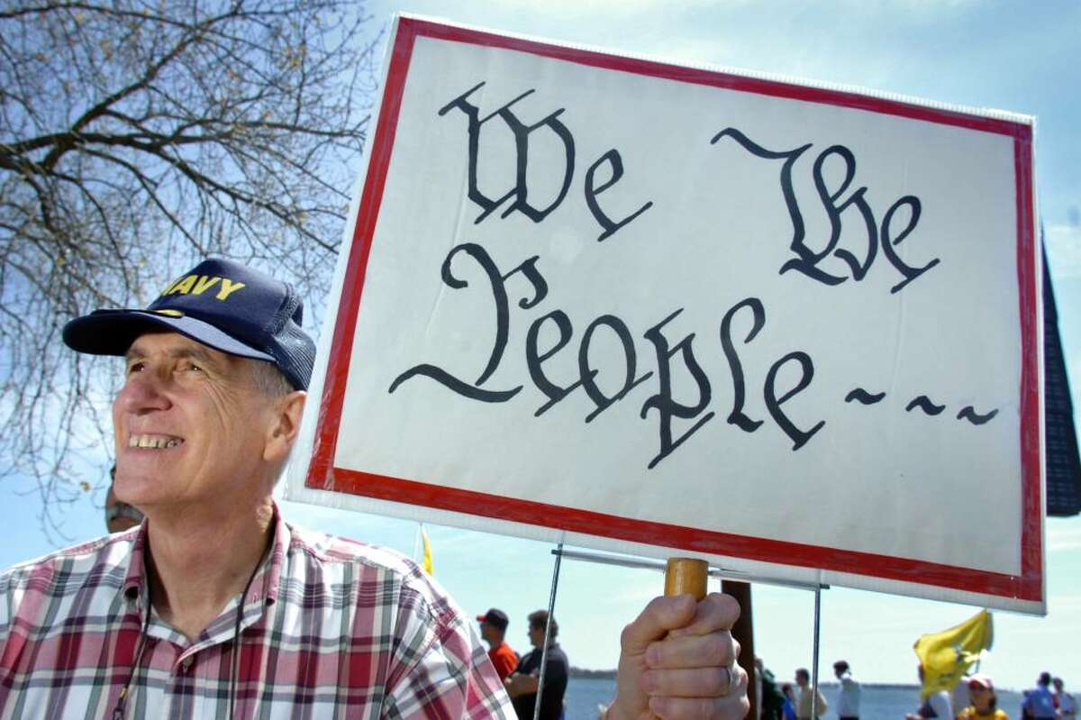 Harold Camacho, of Milford, takes part in the Tax Day Tea Party in New Haven Thursday, April 15th, 2010.