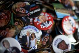HARRISBURG, PA - APRIL 21:  Donald Trump campaign pins are sold outside before the Republican presidential hopeful holds a campaign rally at the Pennsylvania Farm Show Complex & Expo Center on April 21, 2016 in Harrisburg, Pennsylvania.  The Pennsylvania Primary takes place on April 26.  (Photo by Mark Makela/Getty Images)