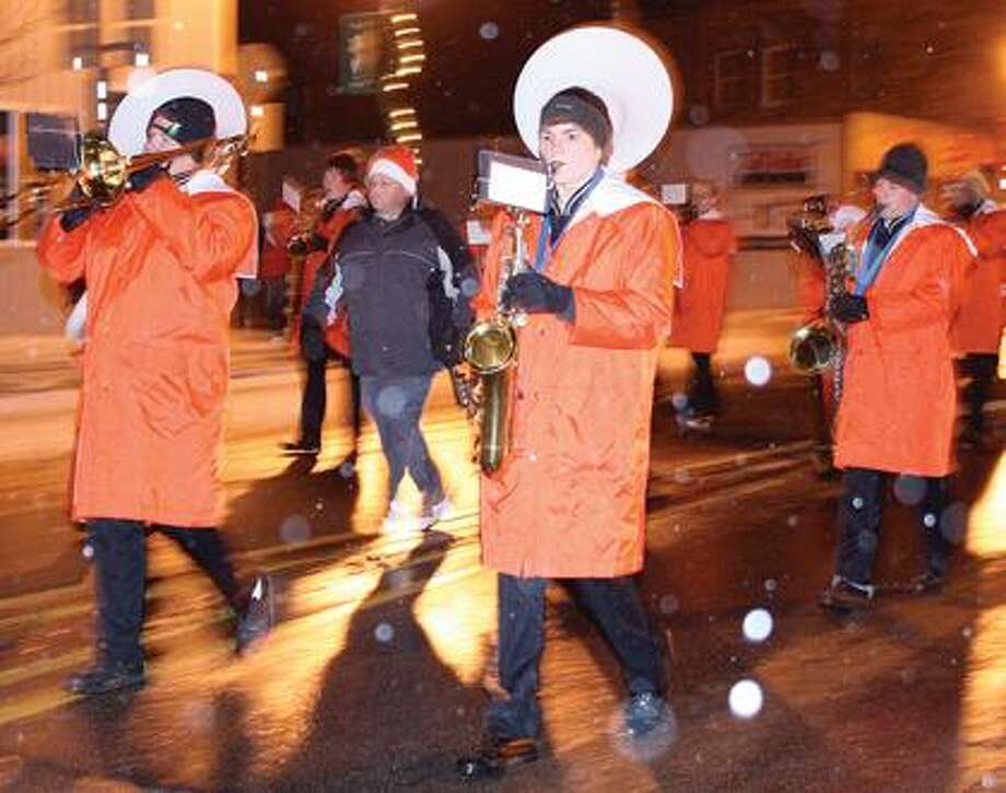 HB school band plays during the Christmas Parade.