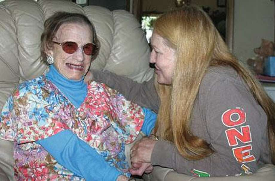 Floann Zimmer, with friend and caretaker Barb Johnson.