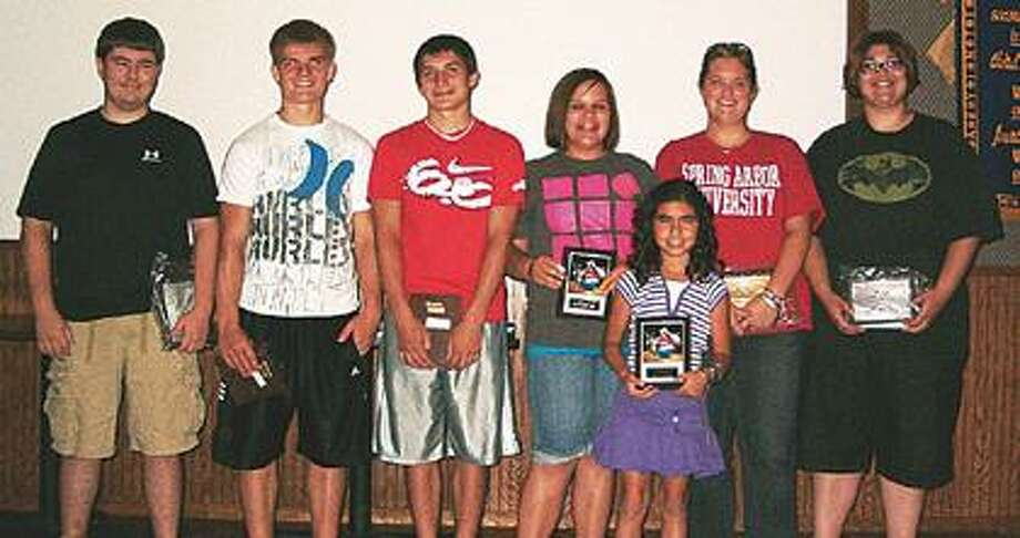 (From left) Matt Leppek, Keaton Holz, Seth Guigar, Hannah Nieschulz, Aaliyah Gonzales, Kati Rockefeller and Courtney Sarka. All of the above are recent 2010 state bowling award winners. Other winners who are missing from the photo include Mackenzie Miller, Miranda Heleski, Tacarra Heleski, Andrew Batzer and Shayna Polega.