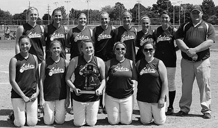 EPBP's softball team poses with the Division 3 district championship trophy on Saturday afternoon in Reese.