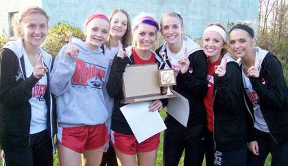 Cross Country Girls Greater Thumb Conference East Champions for 2010 from left to right are Senior Kelsey Romosier, Freshman Tori Mock, Sophomore Jenna Hirsch, Senior Sarah Smith, Senior Rebecca Spinks, Senior Alexis Korte and Senior Alex Colwell.