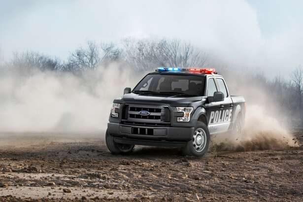 An action shot of the new Ford F-150 Special Service Vehicle maneuvering the dirt.