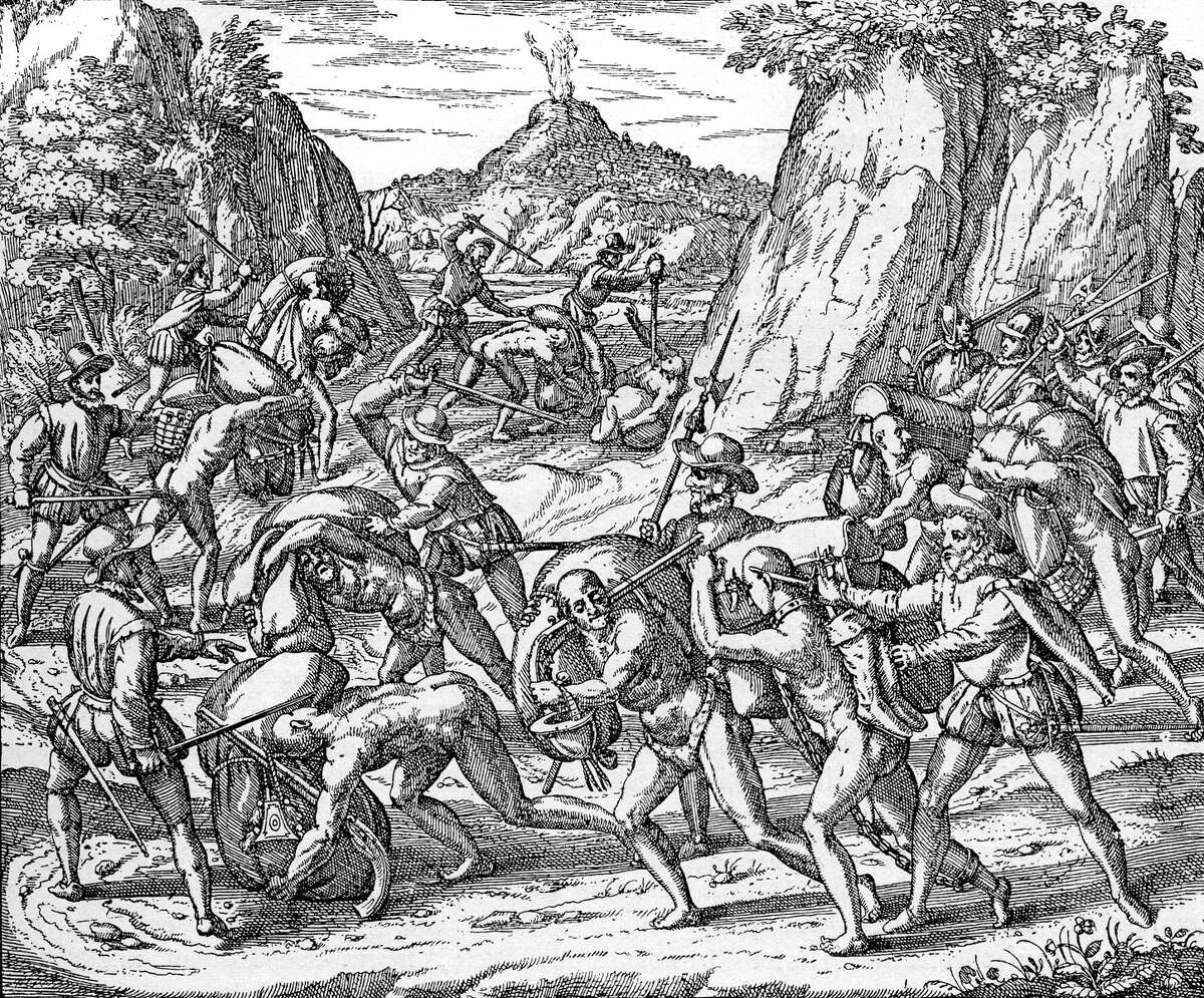 The abuse of Native Americans by Spaniards: An engraving from