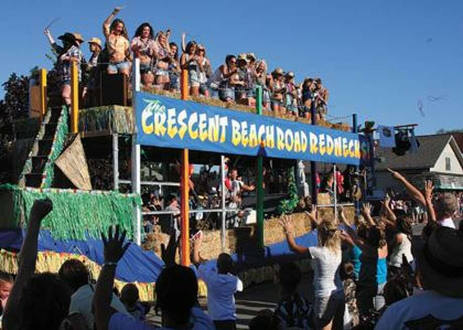 """The Crescent Beach Road Rednecks"" during the Parade of Fools."