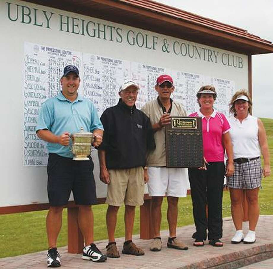 Flight winners from Ubly Heights Golf & Country Club pose after the conclusion of competition on Sunday. They are (from left) Chad O'Berski (Champions Flight), Fred Ziehm (First Flight), Harry Swartzentruber (Third Flight), Marje Murdock (Ladies gross winner) and Elaine Dropiewski (Ladies net winner). Missing is Second Flight winner Ron Lackowski.