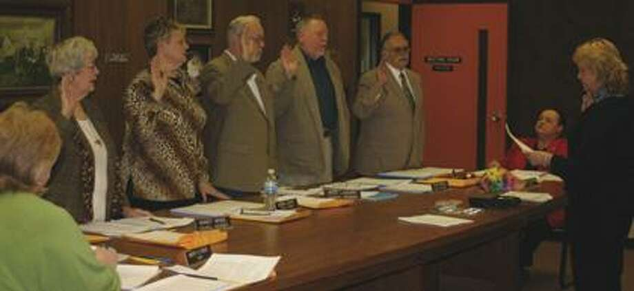 Newly elected members of the first Caseville City Council