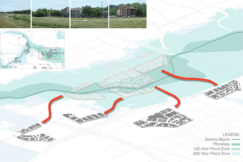 Much of Greenspoint's multi-family housing lies in the bayou floodway.From a 2012 study by the Community Design Resource Center. Credits: Susan Rogers, Director; Andrea Gonzalez, Alex Lara, Jennifer Branham, John Rezsonya, Sidney San, Josh Sawyer. Photo: University Of Houston, Community Design Resource Center