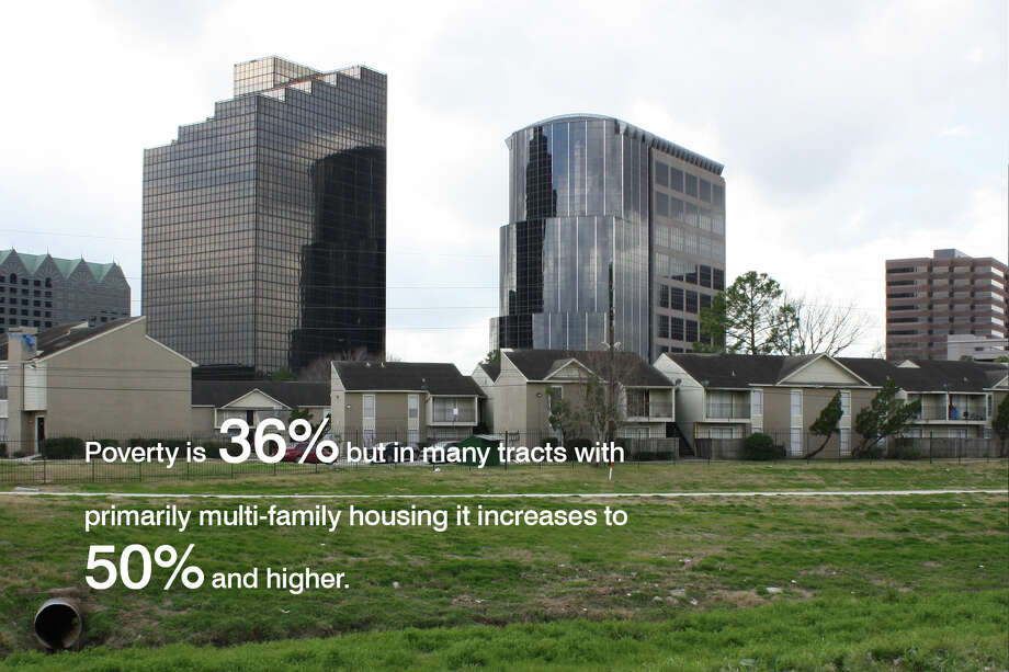 Greenspoint's poverty rate is especially high in the multi-family complexes.From a 2012 study by the Community Design Resource Center. Credits: Susan Rogers, Director; Andrea Gonzalez, Alex Lara, Jennifer Branham, John Rezsonya, Sidney San, Josh Sawyer. Photo: University Of Houston, Community Design Resource Center