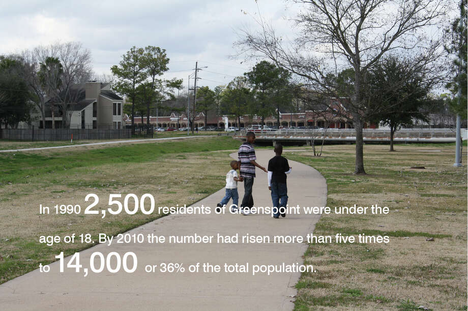 A high percentage of Greenspoint's residents are children.From a 2012 study by the Community Design Resource Center. Credits: Susan Rogers, Director; Andrea Gonzalez, Alex Lara, Jennifer Branham, John Rezsonya, Sidney San, Josh Sawyer. Photo: University Of Houston, Community Design Resource Center