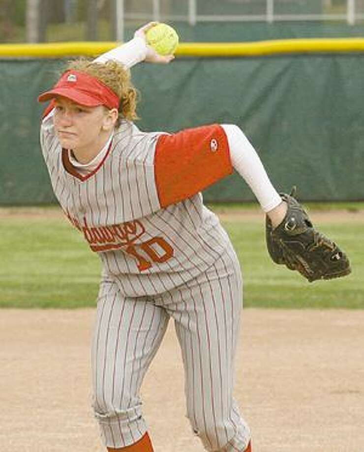 Owen-Gage's Mariah Francis delivers a pitch in Game 1.