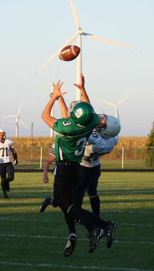EPBP's Tim Warack goes high in the air to snare a TD pass against USA's Dan Rieck.