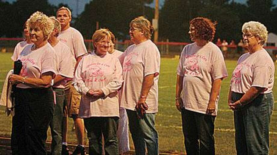 Several Marlette area breast cancer survivors were honored at halftime of the Marlette- Mayville varsity football contest on Thursday, September 2 as Marlette hosted its White Out Goes Pink event to help raise awareness and funding for local breast cancer organizations.