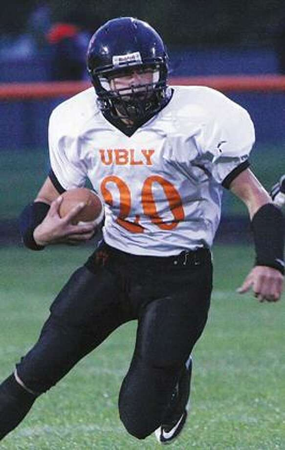 >b> Ubly running back Tyler Peruski leads the team in yards (777) and is tied for the lead in touchdowns with 12.