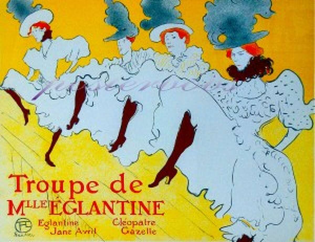 A painting by Henri Toulouse-Lautrec of a group of Can-can dancers in Paris' Montmartre section.