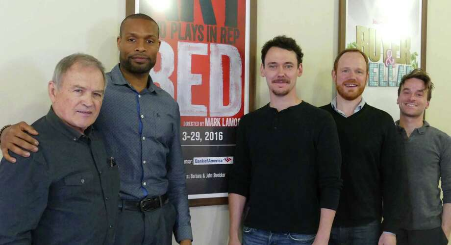 "Two plays, ""Art"" and ""Red,"" will be performed in repertory at Westport Country Playhouse, Tuesday, May 3 through Sunday, May 29. From left are cast members Stephen Rowe (playing Mark in ""Red""), Benton Greene (Marc in ""Art""), John Skelley (Serge in ""Art""), Sean Dugan (Yvan in ""Art""), and Patrick Andrews (Ken in ""Red""). Photo: Peter Chenot / Contributed Photo"