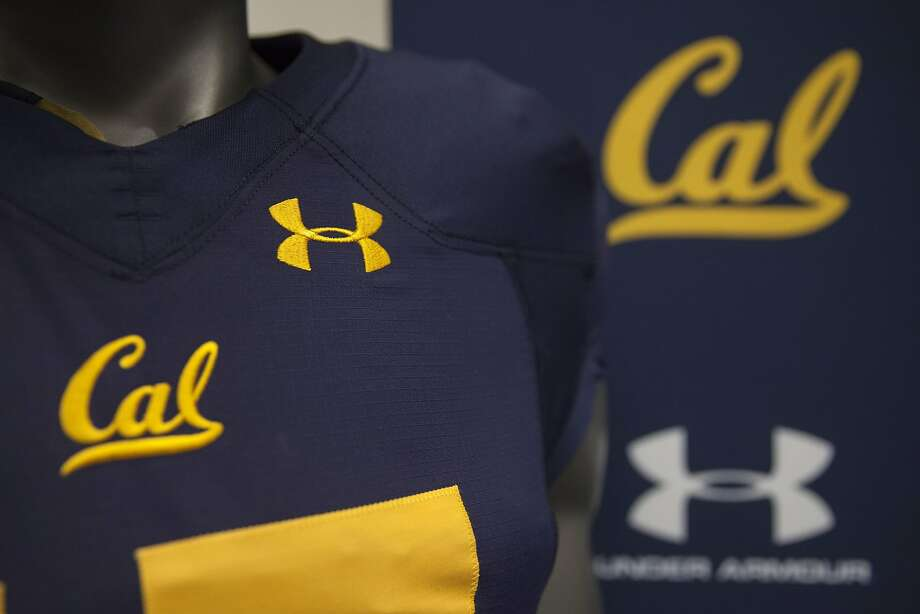 Mannequins display Cal uniforms that also include Under Armour logos. Photo: Peter DaSilva, Special To The Chronicle