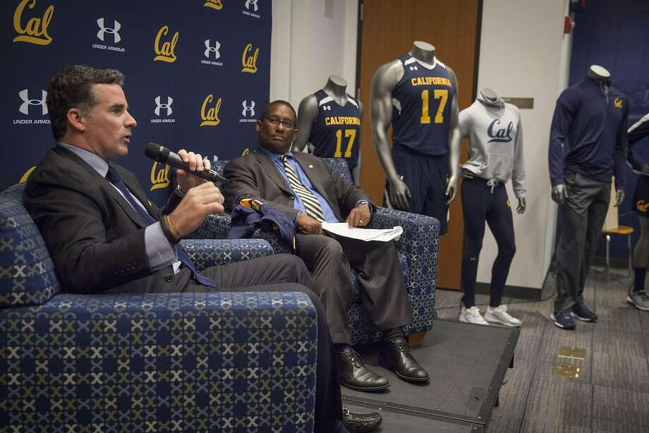 Under Armour CEO Kevin Plank (left) and University of Berkeley Athletics Director Mike Williams announced their new 10 year apparel agreement starting on July 01, 2017 to outfit athletes campus wide  in UC Berkeley, California, USA 22 Apr 2016. (Peter DaSilva/Special to The Chronicle) Photo: Peter DaSilva, Special To The Chronicle