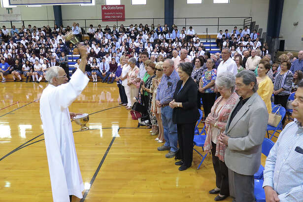 Saint Augustine High School students look on as Father Anthony Mendoza blesses the grandparents who participated in the school's Grandparents Day activities Monday at the school's Wellness Center. The Mass was followed by a brunch at the Alumni Center. Abuelos, grandparents — what we call our parents' parents seems to have to do with ethnicity, national origin and how our kids pronounced things when they were young.